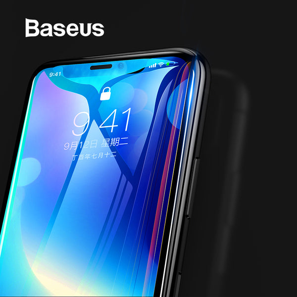 Baseus 0.3MM 7D Surface Screen Protector For iPhone X Glass 9H Thin Anti Blue Light Tempered Glass For iPhone X Protective Glass