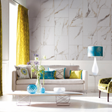 Living room covered with Beige Marble Tile Effect Wall Panels