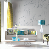 Living room made of White Marbles Tile Effect Wall Panels