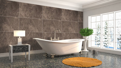 Large Tile Bronze Premium - 1m Shower Wall Panelling - Floors To Walls