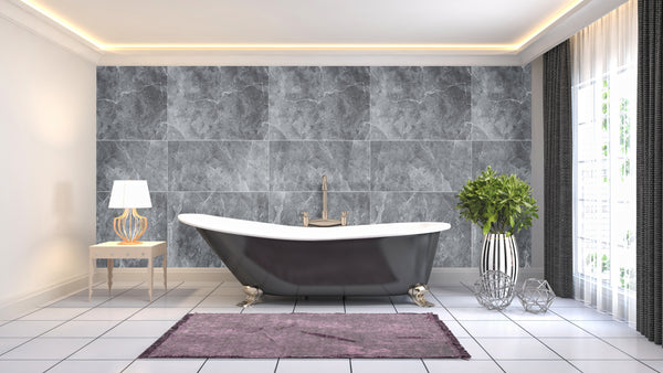 Large Tile Grey Premium - 1m Shower Wall Panelling - Floors To Walls