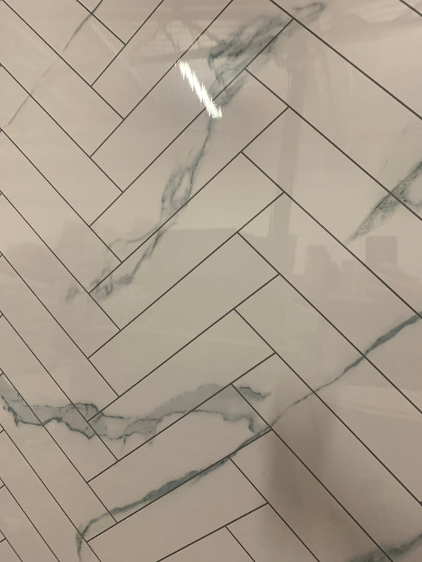 Large High Gloss White Marble Chevron - 1m Shower Wall Panelling - Floors To Walls