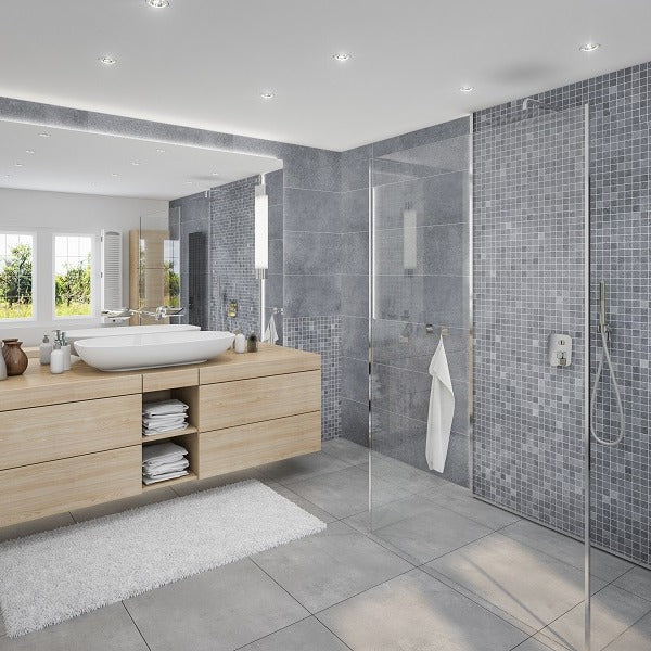 Bathroom and Shower cabin made of Roman Tile Shower wall panels