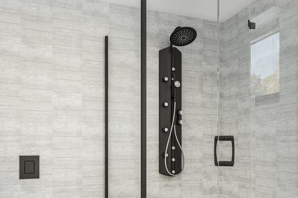 2 Sided Shower Wall Kit - Greystone Multi Tile - Floors To Walls