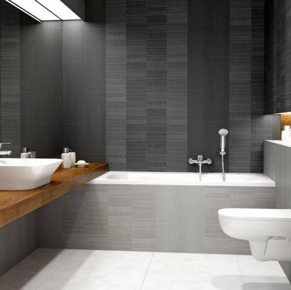Bathroom made of Vox Motivo Modern Décor Anthracite Large Tile Panels