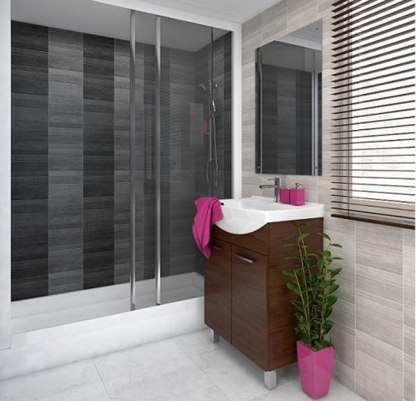 Shower cabin made of Vox Motivo Modern Décor Silver Small Tile Panels