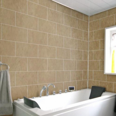 Bathroom made of Dumalock Galet Brown Panels