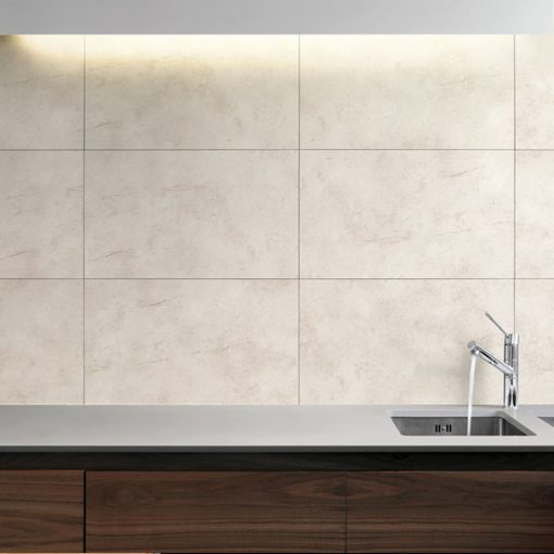 Kitchen sink on the wall background made of Dumawall Singlefix Tile Montpellier Panels