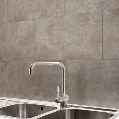 Sink against the background of a wall made of Dumawall Singlefix Tile Nice Panels