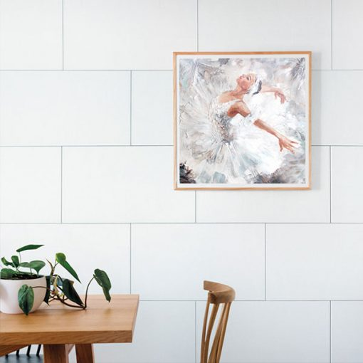 The image of the ballerina hangs on a wall made of Dumawall Singlefix Tile Paris Panels