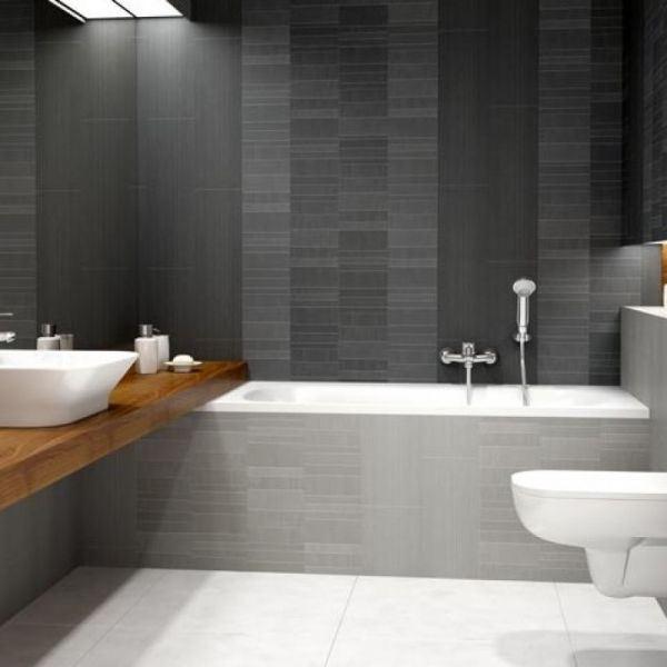 Bathroom made of Vox Motivo Modern Décor Silver Large Tile Panels