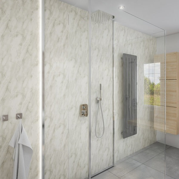 2 Sided Shower Wall Kit - Subtle Grey Sparkle - Floors To Walls