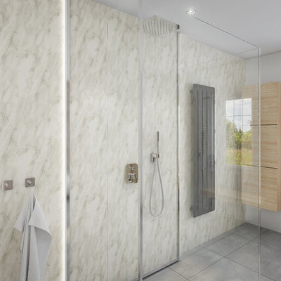 3 Sided Shower Wall Kit - Subtle Grey Marble