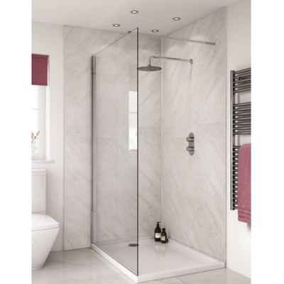 Large Subtle Grey Marble - 1m Shower Wall Panelling - Floors To Walls