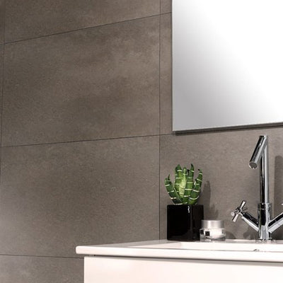 bathroom sink on the background of the wall made of Dumawall Singlefix Tile 420mm x 700mm Taupe Panels