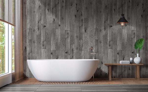 Bathtub on the wall made of 2 Sided Shower Wall Kit - Distressed Oak Grey