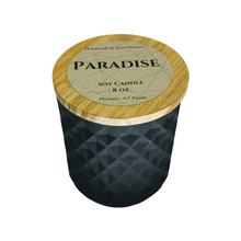 Load image into Gallery viewer, Paradise soy candle - 8 oz black or white geometric jar