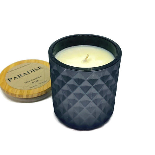 Paradise soy candle - 8 oz black or white geometric jar
