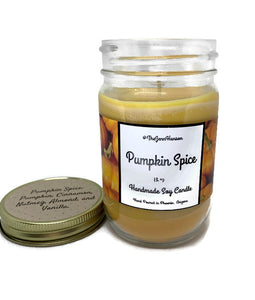 Pumpkin Spice scented soy candle in 12 oz glass jar by TheJennHanson