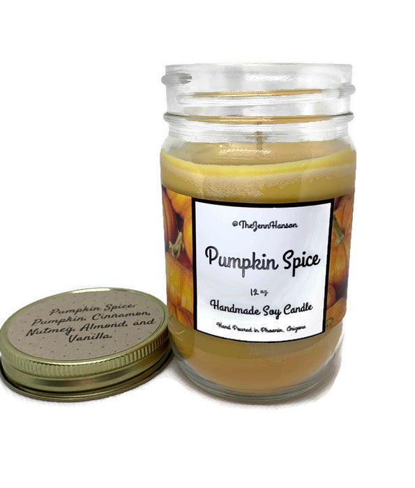 Pumpkin Spice scented soy candle in 12 oz glass jar