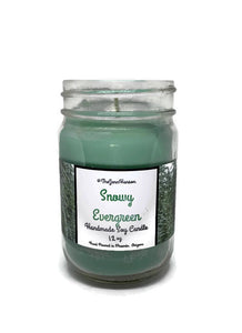 Snowy Evergreen scented soy candle in 12 oz glass jar