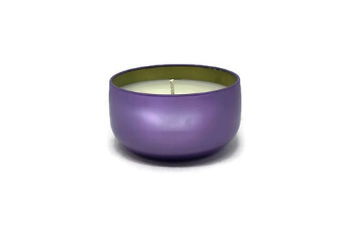 Sweet Dreams soy candle (lavender, amber, and sage) in purple 8 oz tin jar