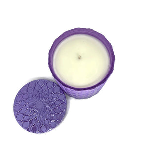 Lavender and Vanilla scented soy candle in purple lux 8 oz jar