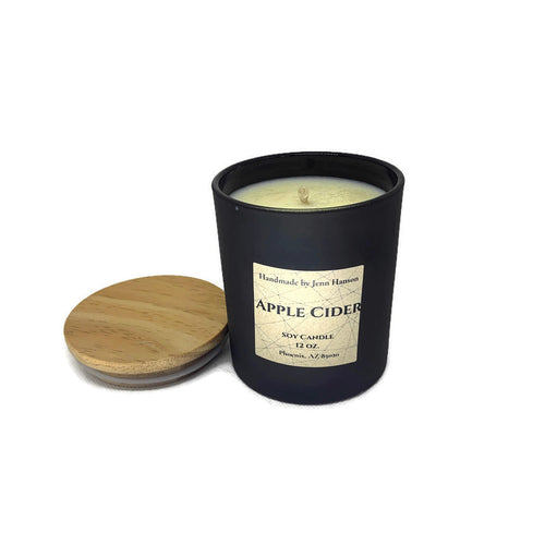 Apple Cider scented soy candle in 8 oz or 12 oz black glass jar