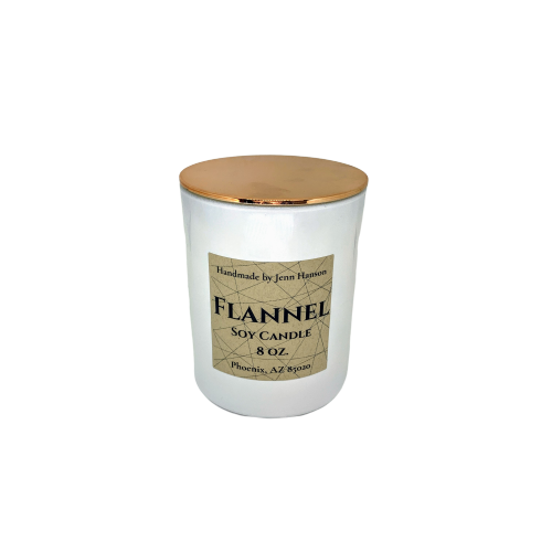 Flannel soy candle - 8 oz white jar