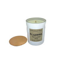 Load image into Gallery viewer, Flannel soy candle - 8 oz white jar