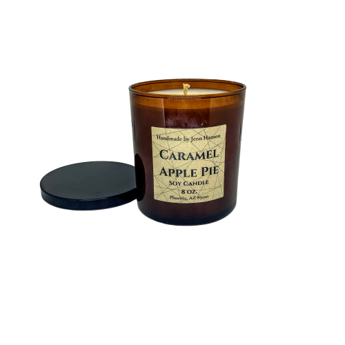 Caramel Apple Pie soy candle in 8 oz amber jar