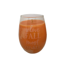 "Load image into Gallery viewer, Autumn Harvest soy candle - ""I Love Fall Most of All"" wine glass"