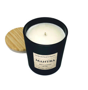 Mantra (Lavender, Amber, and Sage) soy candle - 12 oz matte black jar