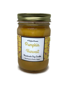 Pumpkin Harvest scented soy candle in 12 oz glass jar