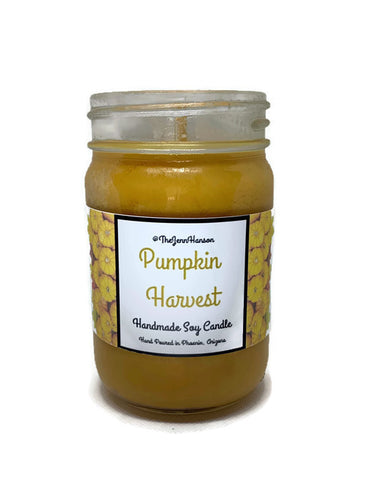 Pumpkin Harvest scented soy candle in 12 oz glass jar by TheJennHanson