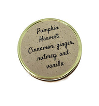 Load image into Gallery viewer, Pumpkin Harvest scented soy candle in 12 oz glass jar