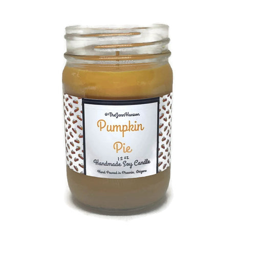 Pumpkin Pie scented soy candle in 12 oz glass jar by TheJennHanson