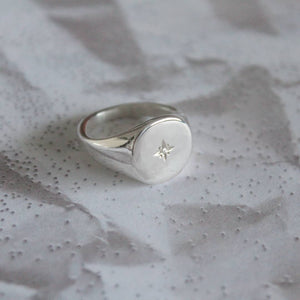 Recycled Sterling Silver Round Signet Ring w/ Star set Moissanite Diamond