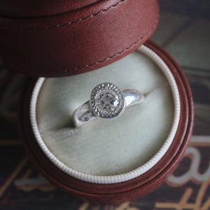 Textured Band Engagement Ring w/ Moissanite Diamond