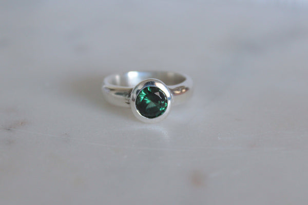 Blue Green Tourmaline Ring w/ Textured Band