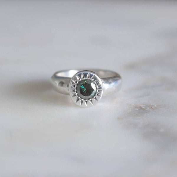 Peacock Moissanite Ring