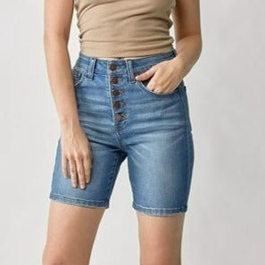 Risen High-Rise Button-Fly Medium Denim Shorts
