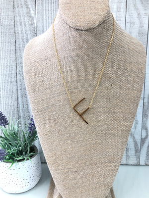 Gold Initial Necklace - F - Sissy Boutique