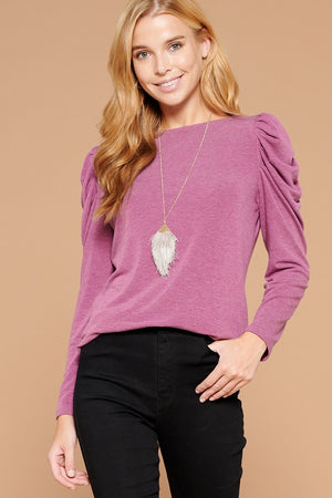 Anna Puff Sleeved Long Sleeve French Terry Top (Berry)