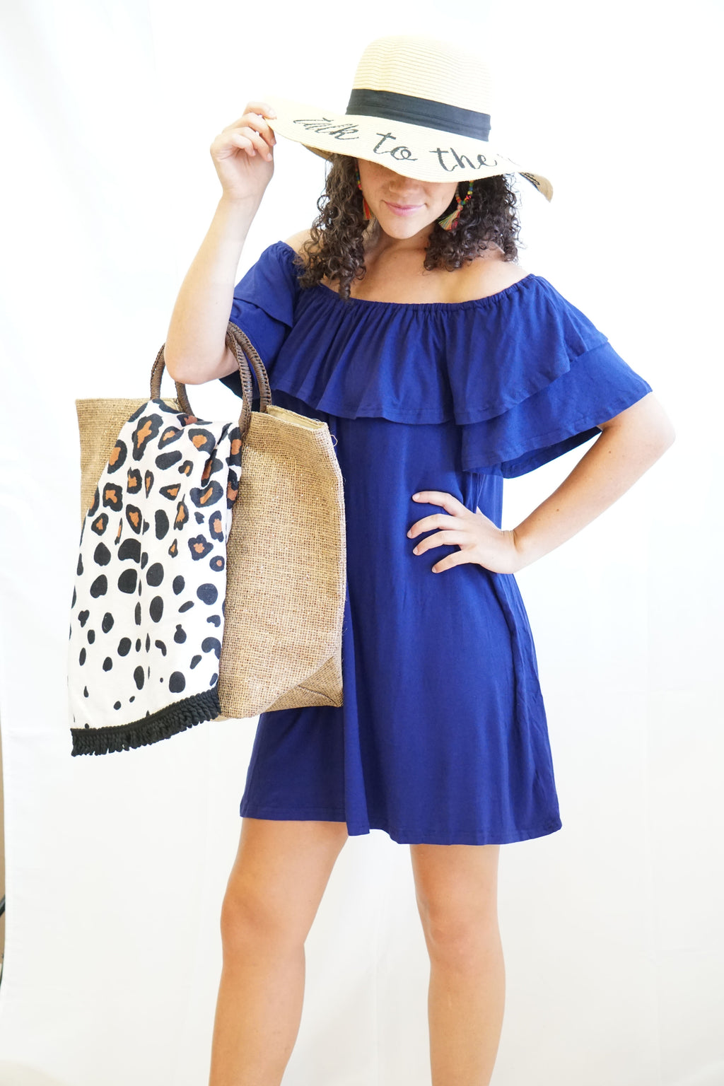 Emma Royal Blue Off-Shoulder Dress/Cover-Up - Sissy Boutique