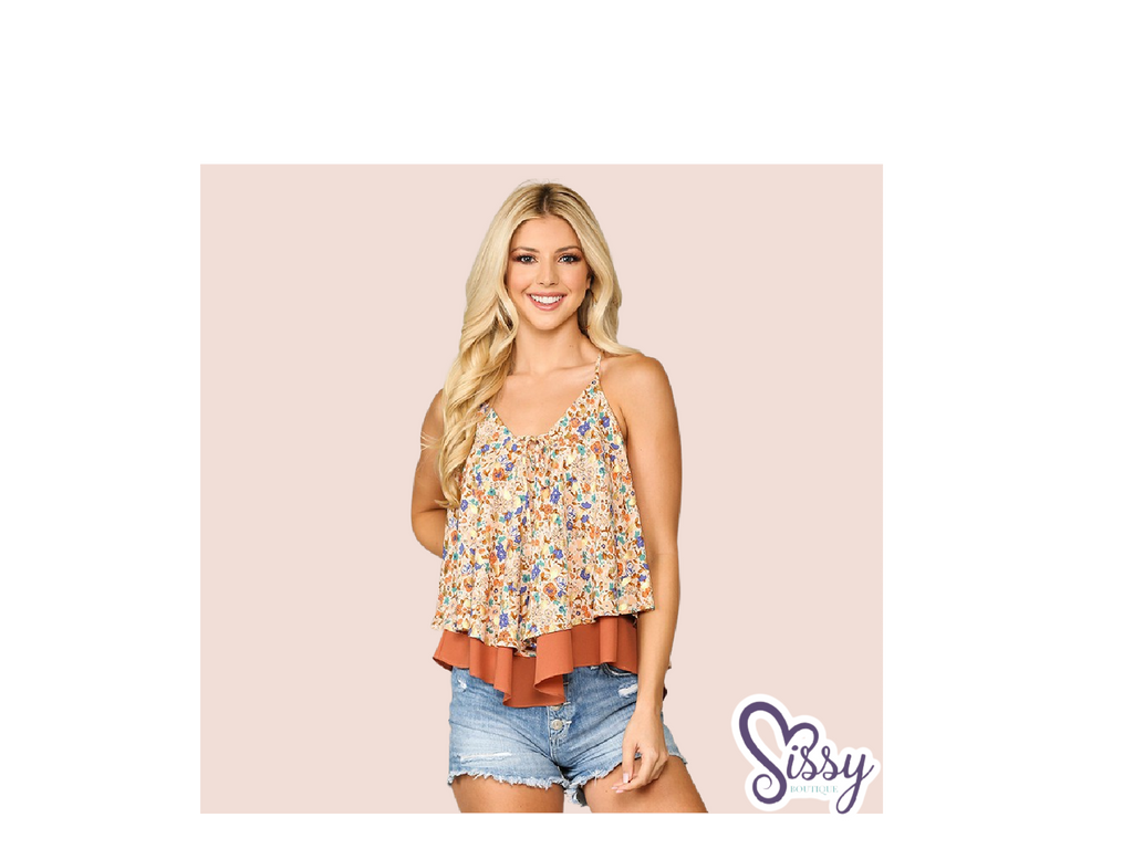 Floral Dreams Flowy Apricot Double Layered Camisole with Adjustable Straps