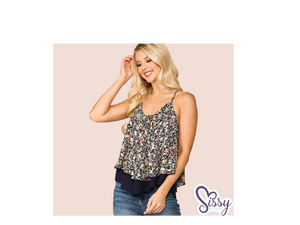 Floral Dreams Flowy Navy Double Layered Camisole with Adjustable Straps