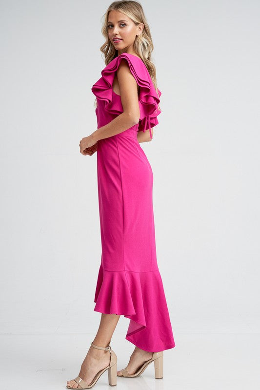 Very Berry Fuchsia Ruffle Midi Mermaid Dress with Back Tie