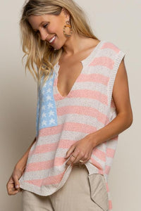 V-Neck Vintage American Flag Sleeveless Lightweight Sweater
