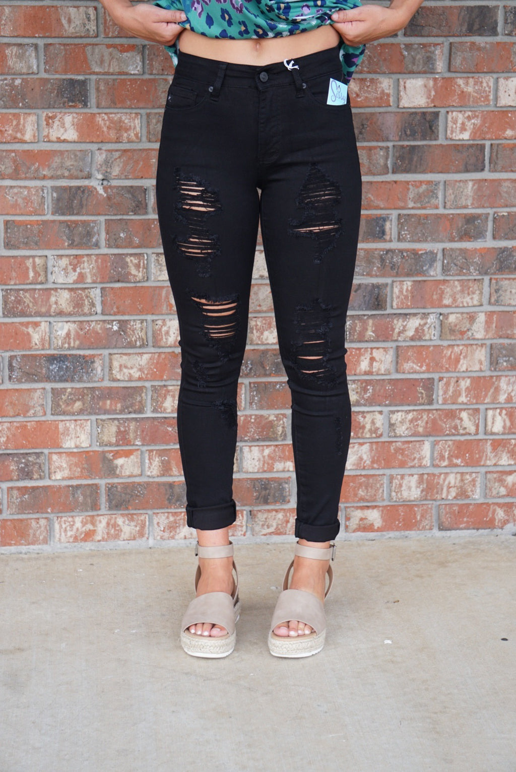Black Kancan High Rise Distressed Skinny Jeans - Sissy Boutique